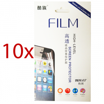 "10x iPhone 6 + Plus Display Schutzfolie 5,5"" Screen Protector mit Reinigungstuch Displayfolie"